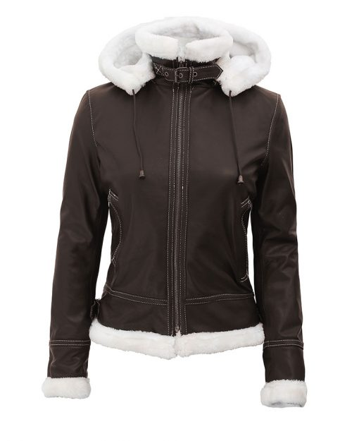 B3 Brown Bomber Leather jacket women