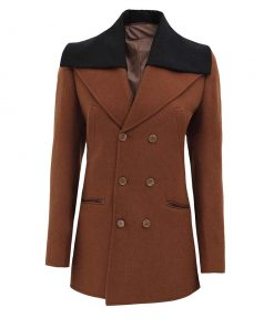 Brown wool coat double breasted peacoat