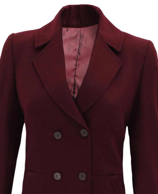Double breasted 3 4 length coat women