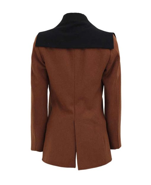 Women black brown peacoat