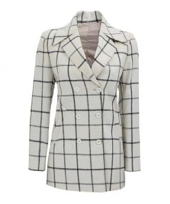 Women white wool coat checkered style