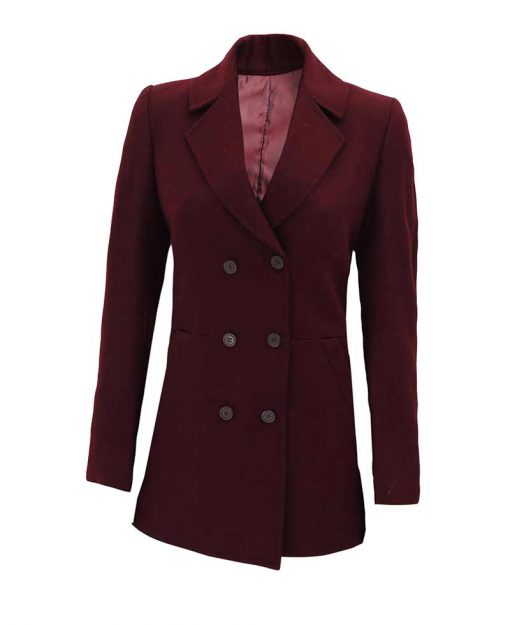Womens Maroon Wool Coat double breasted