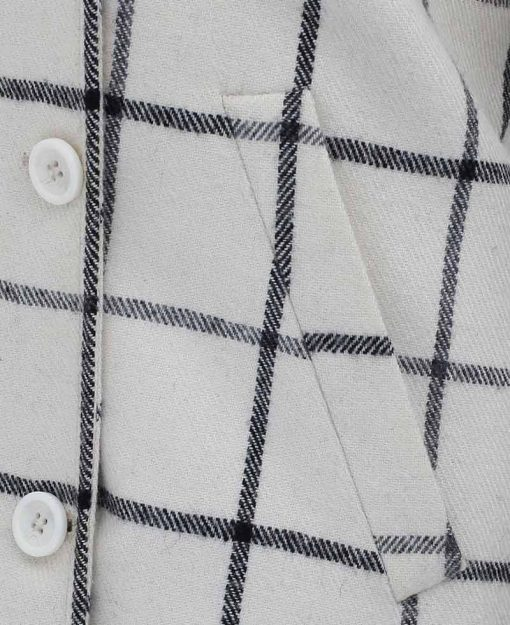 checkered wool coat for women white