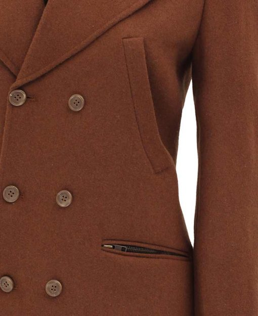 double breasted brown wool coat women