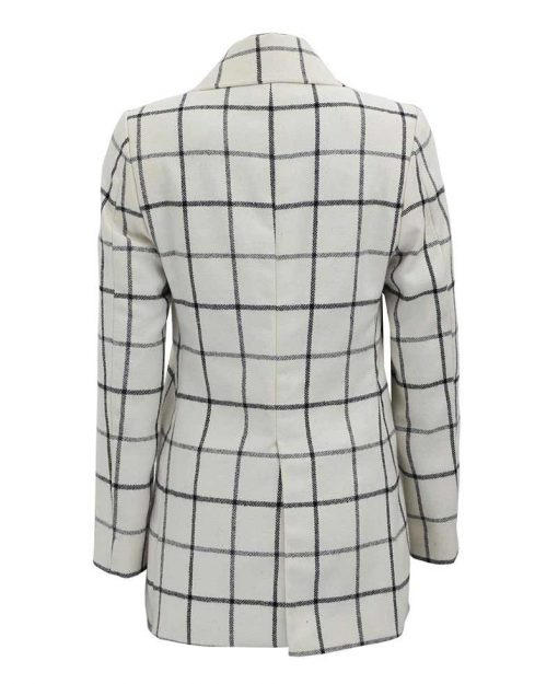 double breasted wool coat women white