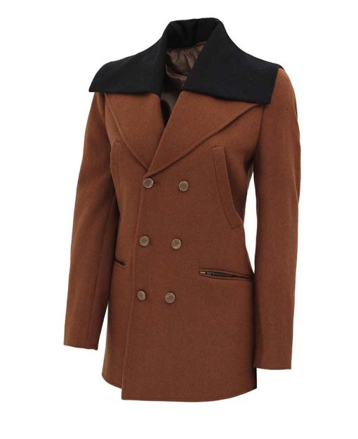 quarter length brown wool coat women