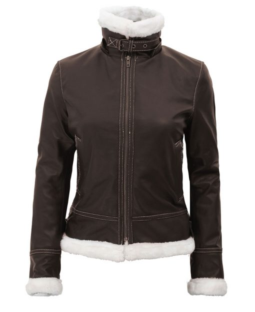 womens b3 bomber shearling leather jacket