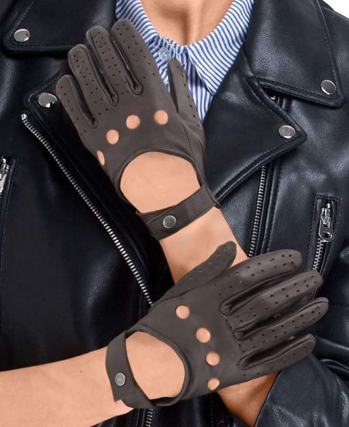 women real leather brown perforated gloves