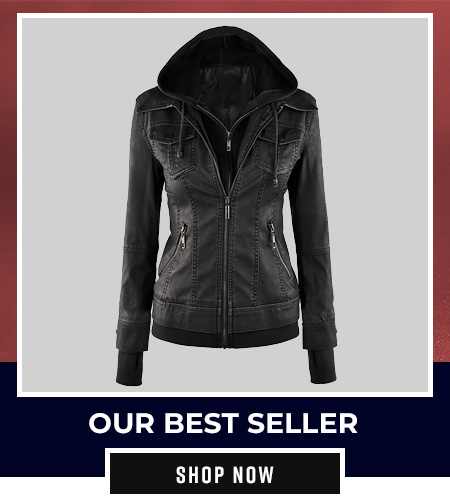Best Seller Women Hooded Leather Jacket