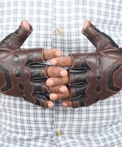 Brown and Black Captain America Leather Gloves