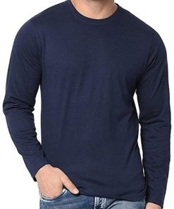 Full Sleeves Navy Blue Cotton Jersey Men