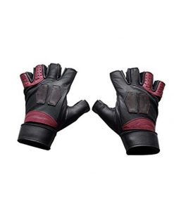 black and red fingerless leather gloves