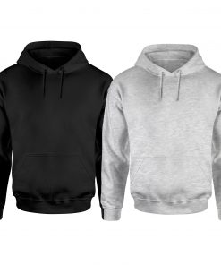 Mens Black and Heather Grey plain Hoodies