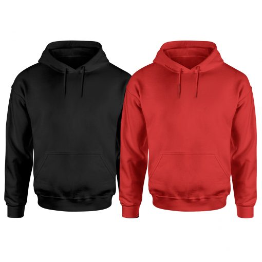 Mens Black and Red Pullover Plain Hoodie