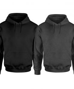 Mens Grey and Black Plain Pullover Hoodies