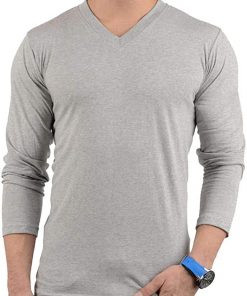 Mens Heather Grey V Neck T shirt