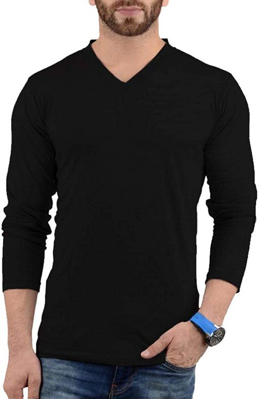 Mens Plain Black V Neck T shirt