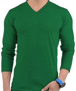 Mens Plain Green V Neck T shirt