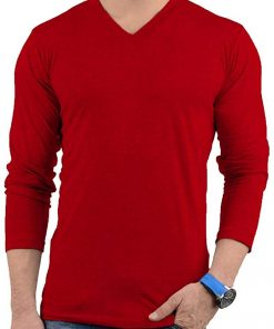 Mens Plain Red V Neck T Shirt