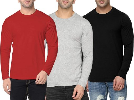 Mens Round Neck Long Sleeve T shirts Pack