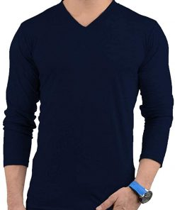 Mens V Neck Navy Blue T shirt ful sleeves