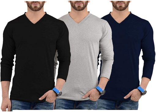 Mens V Neck Plain T shirts Pack grey