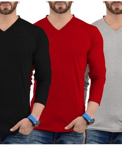 Mens V Neck Plain T shirts Pack red