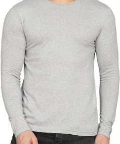 Mens round neck collar grey full sleeves shirt