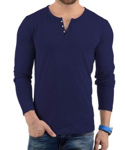 Navy blue henley shirt men
