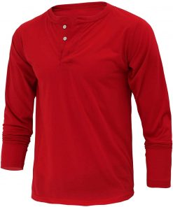 Red cotton henley shirt for men