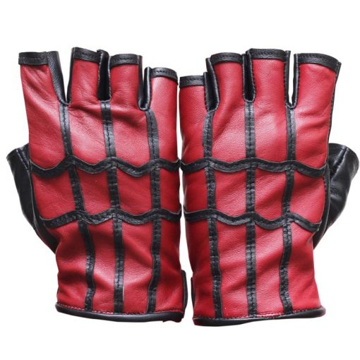 Spiderman leather gloves red and black