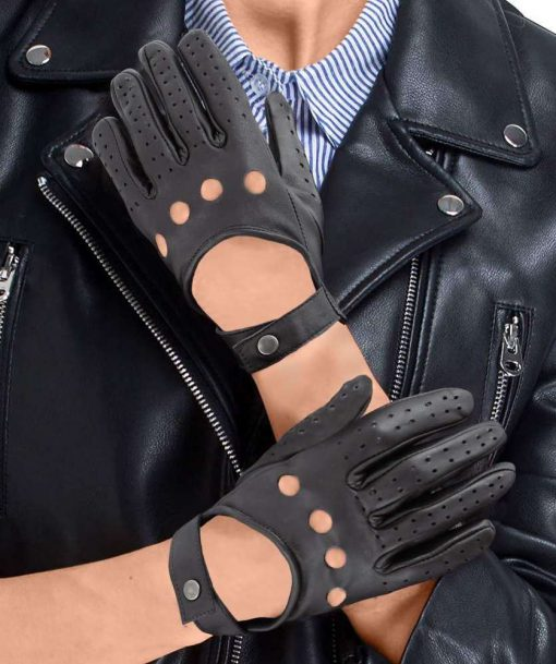 Womens Black Leather Gloves