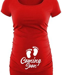 Womens Red Short Sleeves Maternity Shirt