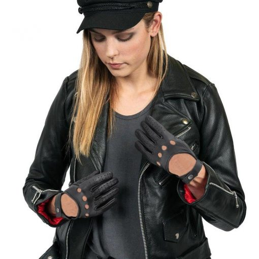 Womens real leather black perforated gloves