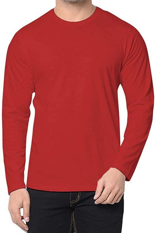 mens full sleeves red cotton t shirt