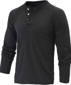 plain black long sleeve henley shirt men
