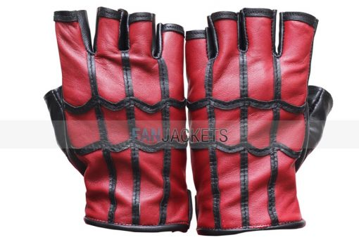 red and black real leather gloves