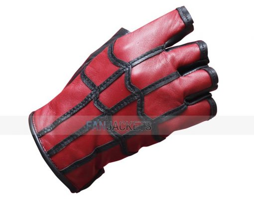 red black leather gloves men