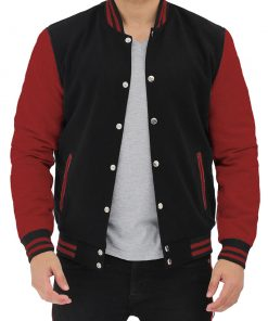 Black and maroon varsity jacket