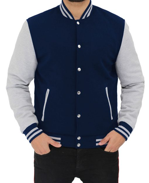 blue and grey letterman jacket