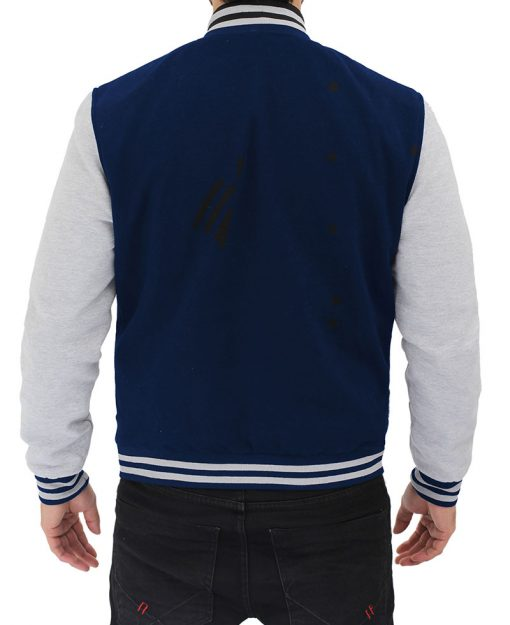 mens blue and greay letterman jacket