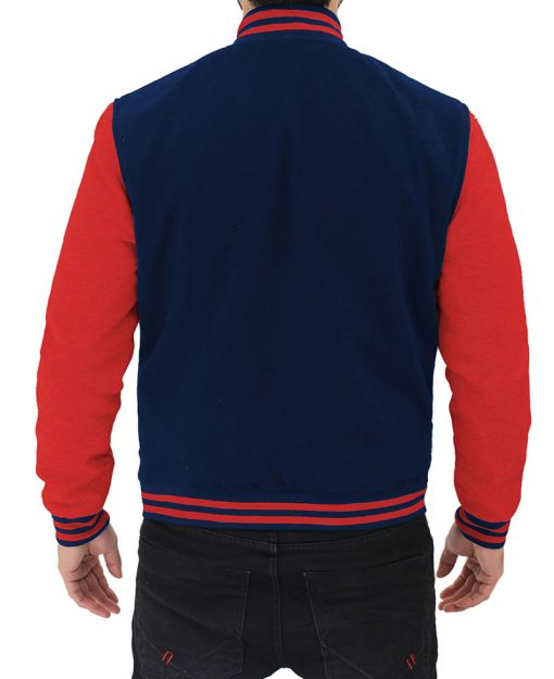 mens letterman jacket blue and red