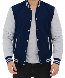 mens navy blue and grey varsity jacket