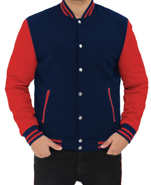mens navy blue and red letterman jacket