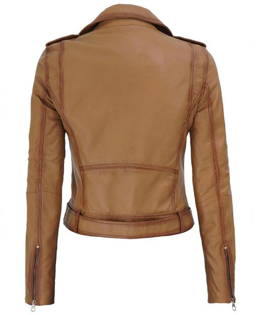 Asymmetrical Brown belted leather jacket women