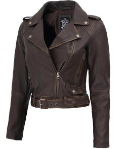 Asymmetrical Distressed Brown Biker Jacket Women