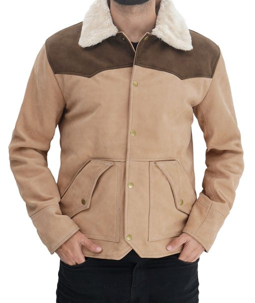 Beige Shearling Collar Leather Jacket