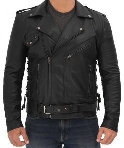 Black Asymmetrical Biker Leather Jacket