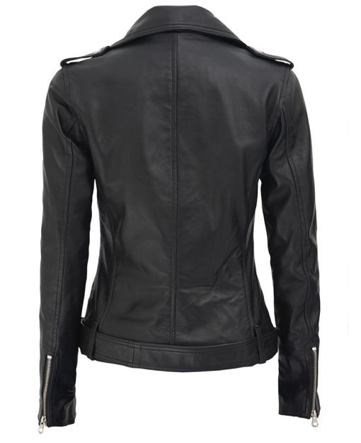 Black Asymmetrical Biker Leather Jacket Women