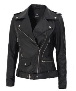 Black Asymmetrical Moto Leather Jacket